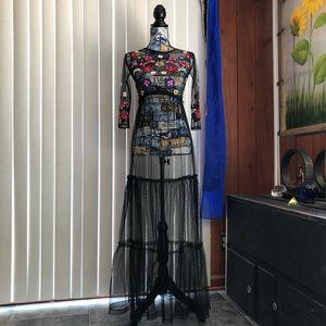 Peek-A-Boo Back Embroidered Sheer Mesh Maxi Dress